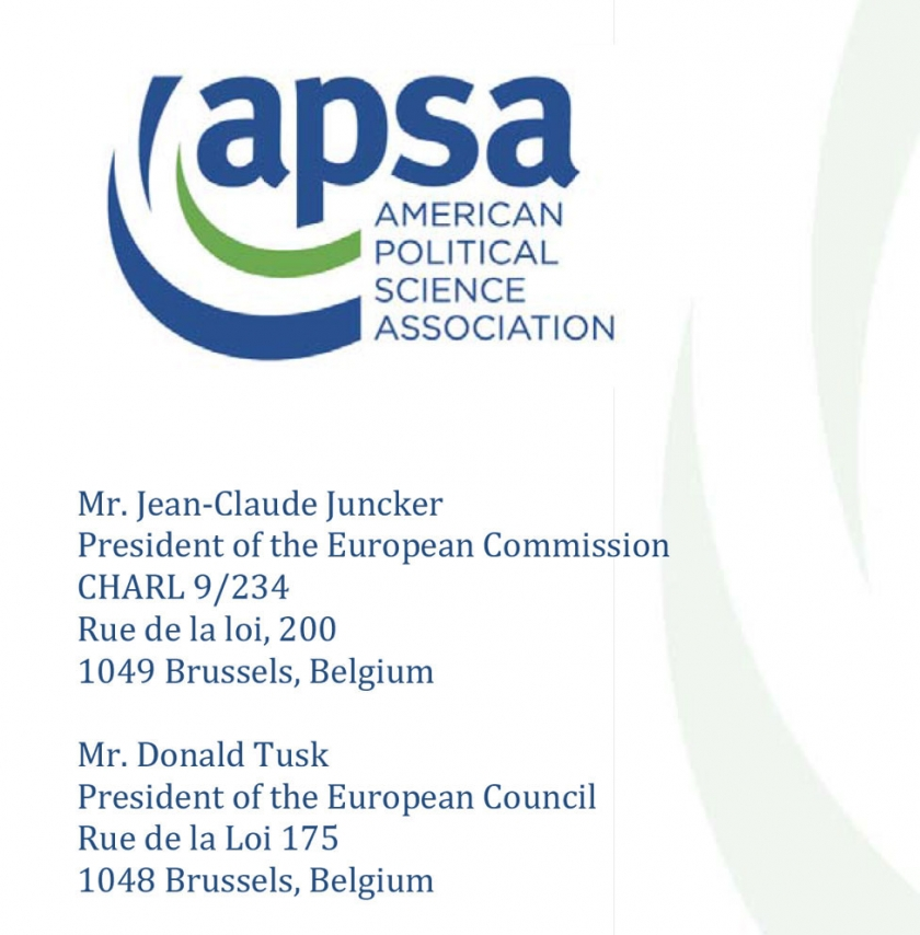 Appeal of the American Political Science Association to presidents Juncker and Tusk